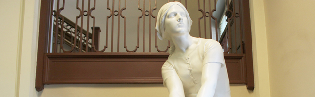 Photo of Jeanne d'Arc sculpture in Carrier Library