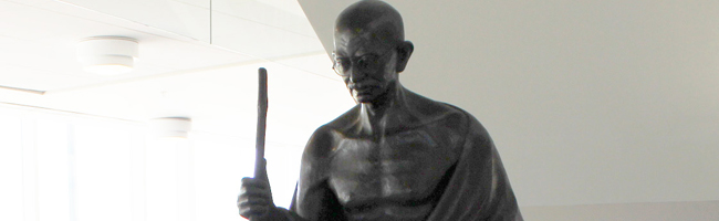 Photo of Mohandas Karamchand Gandhi statue in Rose Library
