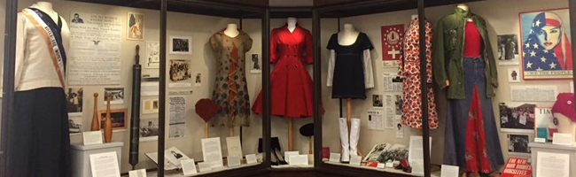 "Photo of ""The 19th Amendment: A History of Women's Rights on Campus"" exhibit in Carrier Library"