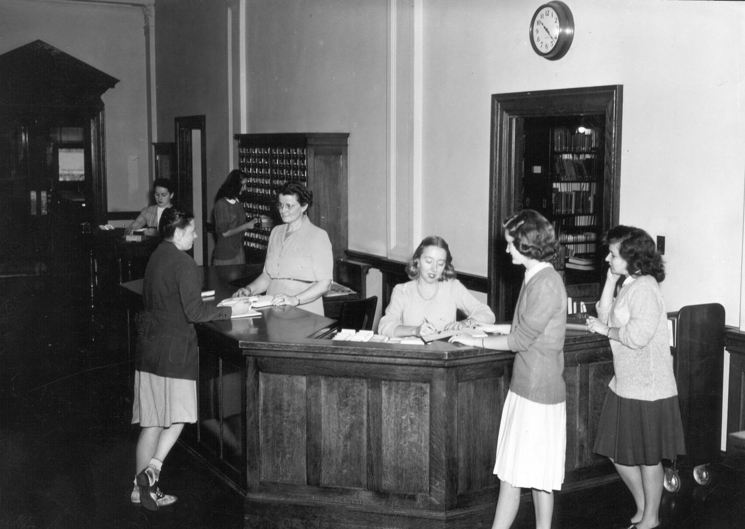 Circulation Desk in 1945